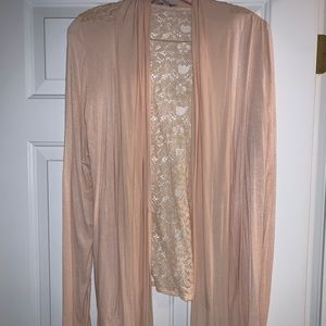 Charlotte Russe Long Sleeve Shrug with Lace Back